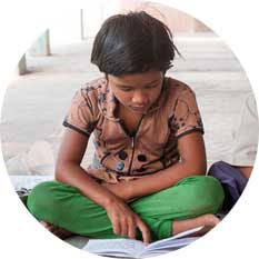Indian girl child studying